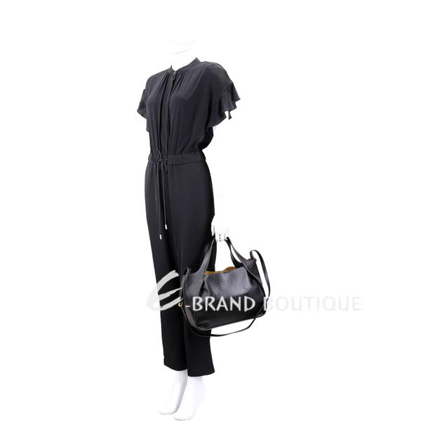Stella McCartney 穿孔字母皮革手提/肩背托特包(黑色) 1830557-01