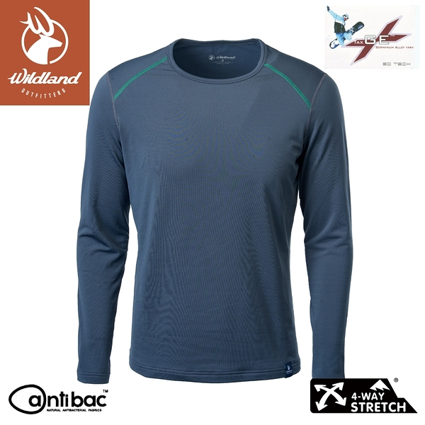 【Wildland 荒野 男 輕量鍺纖維親膚保暖衣《深灰》】W2668/機能衣/衛生衣/內搭