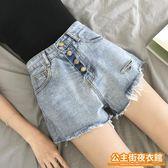 短褲  網紅高腰破洞牛仔褲女夏季新款顯瘦復古學生ins闊腿熱褲短褲