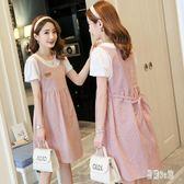 2019夏季新款韓版寬松時尚款假兩件連身裙短袖中長款孕婦洋裝 CJ922 『易購3c館』