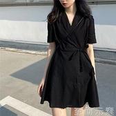 西裝洋裝 大碼法式復古桔梗西裝洋裝胖妹妹收腰顯瘦赫本風小黑裙A字短裙 至簡元素