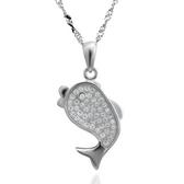 項鍊 925純銀鑲鑽吊墜-可愛迷人生日情人節禮物女飾品2色73dk243[時尚巴黎]
