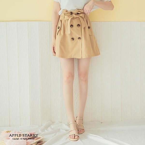 打折雙排釦假口袋腰綁帶短裙(M-L)-2色 蘋果星沙