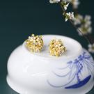 東方美學黃蝶貝珍珠古典優雅耳釘耳夾/設計家
