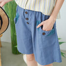 【慢。生活】蕾絲拼接口袋短褲-F 11217 FREE藍色