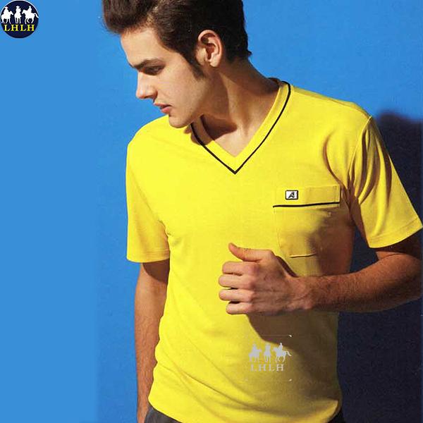 男運動上衣v領t恤排汗衣 現貨 黃色