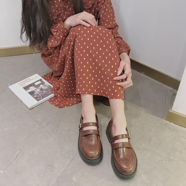 ins新款瑪麗珍鞋女復古軟妹小皮鞋女學生一字扣單鞋jk制服鞋日系