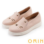 ORIN 甜美童趣 貓咪荔枝紋牛皮平底便鞋-粉紅