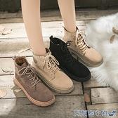 馬丁靴 英倫風百搭馬丁靴女2021年秋季新款帆布加絨短靴平底學生女鞋子冬 快速出貨
