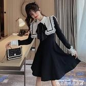 蕾絲洋裝2021年新款秋冬季赫本風連身裙女蕾絲海軍領收腰顯瘦復古小黑裙子  迷你屋 新品