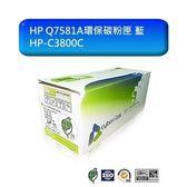 榮科 環保碳粉匣 【HP-C3800C】 HP Q7581A環保碳粉匣 藍 新風尚潮流