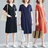 降價兩天 素色V領雙口袋洋裝-中大尺碼民族風洋裝 XL-4XL 三色