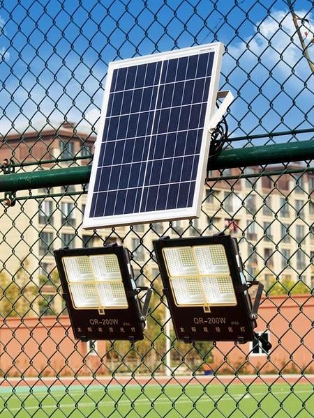 太陽能燈投光燈新農村戶外超亮防水庭院燈照明LED大功率100W路燈 (橙子精品)