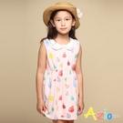 Azio 女童 洋裝 圓領彩色車線滿版彩色水滴塗鴉無袖洋裝(粉) Azio Kids 美國派 童裝