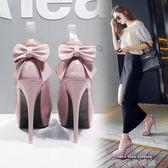 婚鞋粉色高跟鞋細跟秋冬成年禮單鞋中跟鞋水鉆白色圓頭婚紗照女鞋 依凡卡時尚