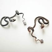 耳環 玫瑰金 925純銀鑲鑽-毒蛇美人生日情人節禮物女飾品2色73gs82【時尚巴黎】