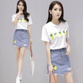 套裝裙 夏季套裝女時尚兩件套女裝韓版甜美小清新牛仔短裙潮LJ10177『小美日記』