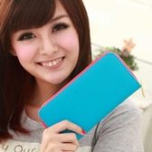 【Miyo皮夾】馬卡龍雙色經典拉鍊長夾(藍桃紅)