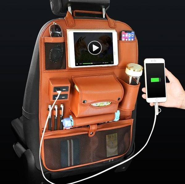 汽車座椅收納袋掛袋車載椅背置物袋靠背防踢車用多功能後背儲物箱 港仔HS