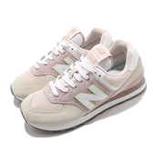 New Balance 休閒鞋 NB 574 粉紅 米白 女鞋 運動鞋 麂皮鞋面 復古慢跑鞋 【ACS】 WL574LBLB