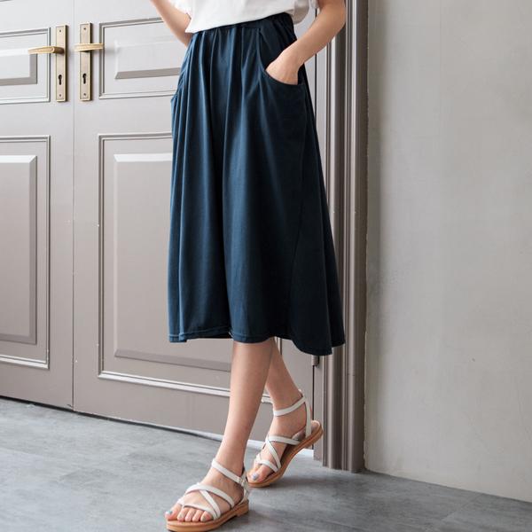 MIUSTAR 正韓.大口袋鬆緊棉質長裙(共2色)【NH0505RR】預購