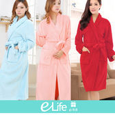 珊瑚絨療癒系保暖浴袍睡袍 療癒系浴袍 (任選12種顏色)【e-Life】