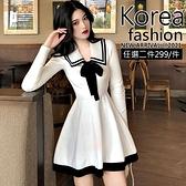 克妹Ke-Mei【AT64725】韓國2021初春新品撞色蝴蝶結海軍風針織洋裝
