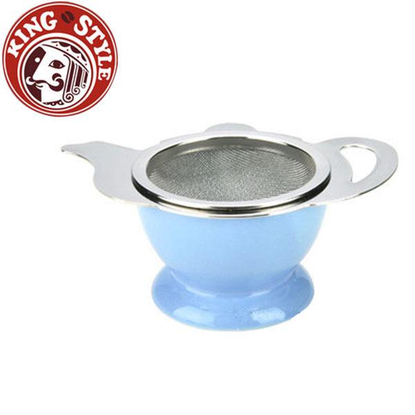 金時代書香咖啡 Tiamo 不鏽鋼杓形濾網組 (附陶瓷底座) 藍色