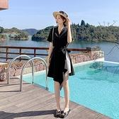 短袖洋裝S-L9280#新款小香風收腰顯瘦氣質女神范不規則系帶超仙女連身裙T325快時尚