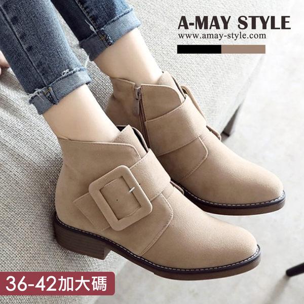 皮帶方扣低跟短靴