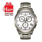 ♨TISSOT*Titanium 時尚風鈦金屬三眼計時腕錶T0694174403100
