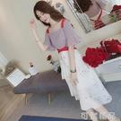 夏季新款碎花吊帶仙女裙子韓版復古一字肩雪紡收腰顯瘦洋裝 可然精品