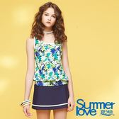 【Summer Love 夏之戀】加大尺碼南洋風印花長版三件式泳衣(S18720)