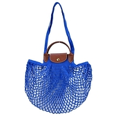 【南紡購物中心】LONGCHAMP LE PLIAGE FILET系列網狀棉質手提/肩背兩用包(寶藍)