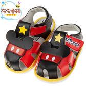 《布布童鞋》Disney迪士尼米奇黑紅色寶寶嗶嗶護趾涼鞋(13~15公分) [ D8A337A ]