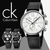 CK手錶專賣店 K2G271C6 白 男錶 石英 強化玻璃鏡面  計時碼表 不鏽鋼錶殼