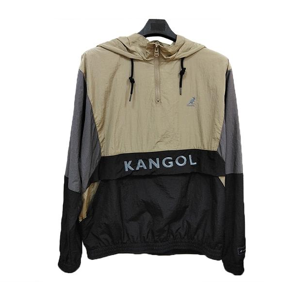 KANGOL 中性黑x咖x灰拼接撞色風衣外套-NO.6055160031
