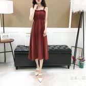 百搭收腰雪紡連身裙少女心仙女裙 復古溫柔風吊帶裙2018夏季新品 S-XL 五色可選