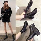 英倫風馬丁靴女2019年新款秋季單靴春秋百搭粗跟中跟黑色小短靴