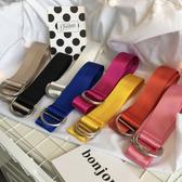 韓國新款光面原宿風加長純色糖果色帆布腰帶裝飾百搭雙環扣皮帶女
