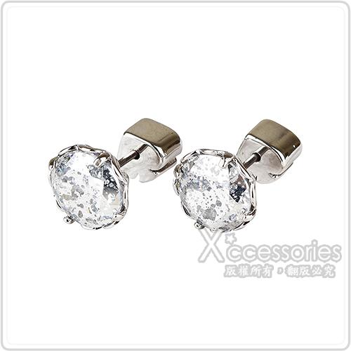kate spade The Sparkle黑桃LOGO圓形設計鑽鑲飾穿式耳環(銀x銀)