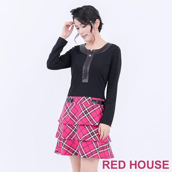 【RED HOUSE-蕾赫斯】星星拉鍊假格紋洋裝(桃紅色)