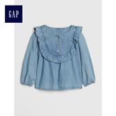 Gap女嬰兒 柔軟荷葉邊長袖圓領牛仔上衣 497748-淺色水洗