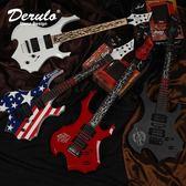 吉他 - Derulo個性火焰電吉他夜魘煉獄指板小雙搖電吉它 生日禮物【店慶八折快速出貨】