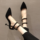 快速出貨 尖頭一字帶高跟鞋女細跟百搭黑色單鞋中跟少女工作鞋