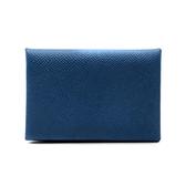 【台中米蘭站】全新品 HERMES Calvi 牛皮方型暗釦名片/信用卡夾 (灰藍)