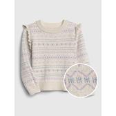 Gap女幼童甜美風格織紋圓領針織衫519107-鮮明粉白色