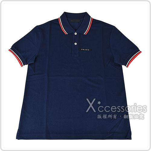 PRADA黑白橡膠LOGO紅白條紋設計純棉短袖POLO衫(S/M/L/墨藍)