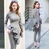 歐媛韓范 時尚氣質套裝女荷葉邊不規則上衣長褲時髦洋氣兩件套