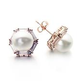耳環 玫瑰金 925純銀鑲鑽-六邊形珍珠生日情人節禮物女飾品2色73gs102【時尚巴黎】